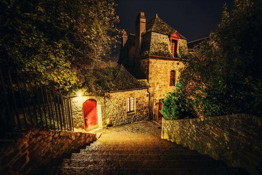 France, mont saint michel, night, ladder