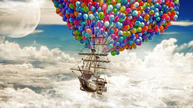 ship, sky, Balls