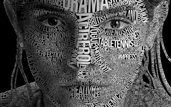 portrait, text, letters