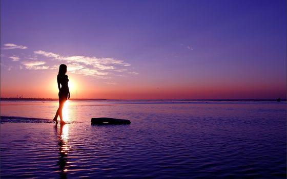 girl, sea, sunset