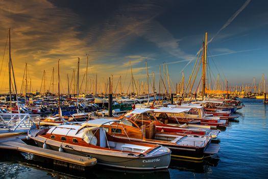 Morning, dawn, Yacht, Boat, wharf