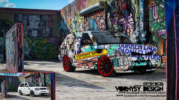 tunning, graffiti, car, abstraction, vornysydesign, rangerover, range