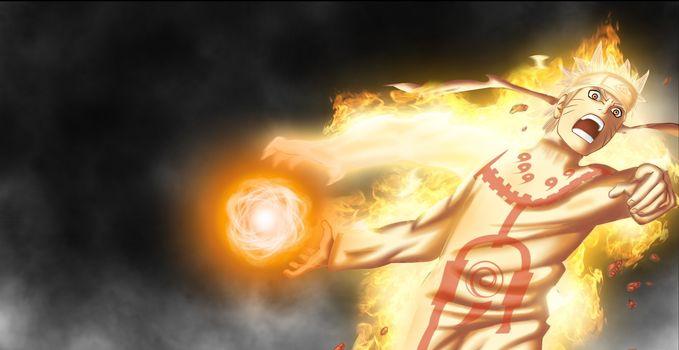 naruto shippuden, bijuu mode, naruto, uzumaki, anime, wallpaper, manga, hitayate, blonde hair, logo konohagakure no sato, bijuu dama, chakra, flame, yellow eye, fury, shinobi, ninja