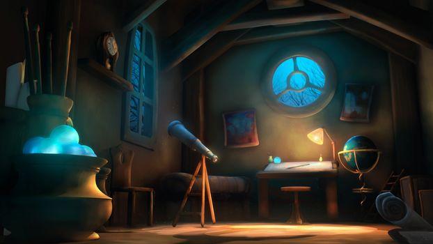 Art, window, room, telescope