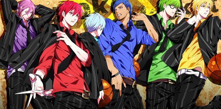 anime, green hair, glasses, blue hair, zone, blue eyes, violet eyes, blonde hair, purple hair, boys, red eyes, red hair, Basketball Kuroko, tie, short hair, yellow eyes, green eyes, brown eyes, shirt