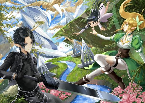 forest, weapon, sao, Elves, sword, swordsman online, Fairy, Yggdrasil, Yui, river, Flowers, alo, Kirito, Bodice, Trees
