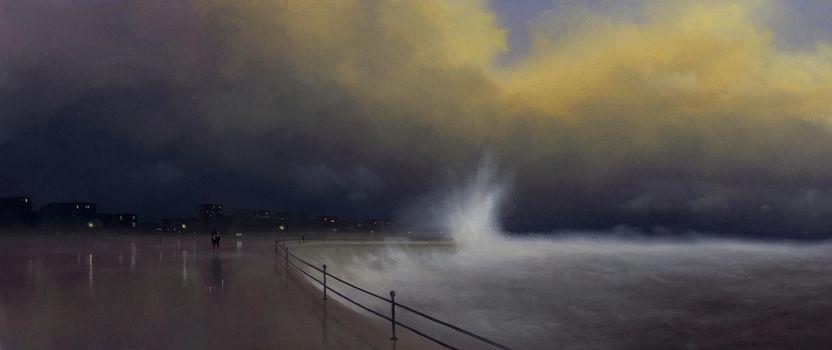 parapet, city, figures, umbrella, night, waves, picture, Art, sea, lights, Storm, two, storm