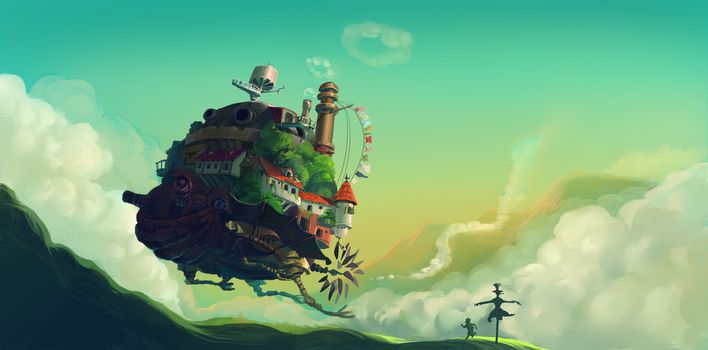 Howl Moving Castle, Hayao Miyazaki, Hills, scarecrow, boy, howls moving castle