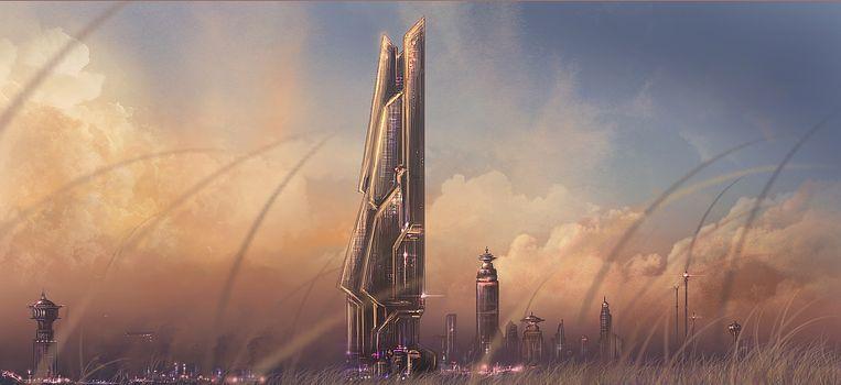 grass, future, Tower, Art, city
