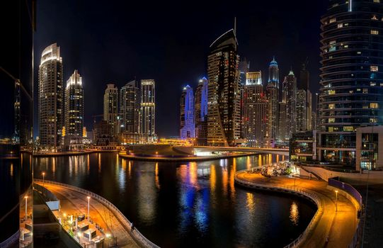 sea, building, road, night, city, Skyscrapers, UAE, bridge, high-rise, dubai