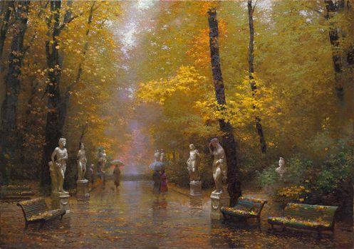 Trees, benches, Victor Nizovtsev, Statue, Gold, landscape, rain, park, Art, picture, tour, autumn, defoliation, Umbrellas