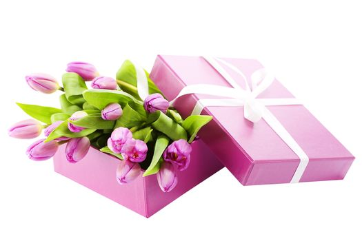 лента, букет, коробка, тюльпаны