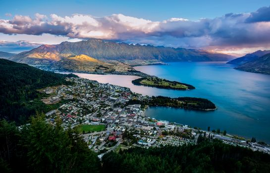 queenstown, from the air, new zealand
