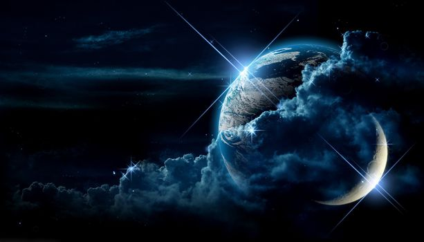 my dream warld, earth, moon