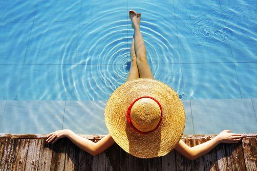 ноготки, бассейн, бортик, шляпа