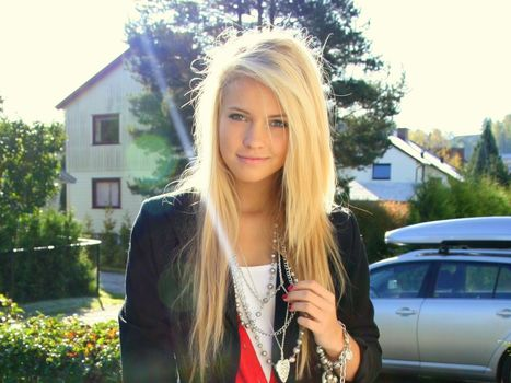 blondes, women, norwegian, faces, Emilie Marie Nereng