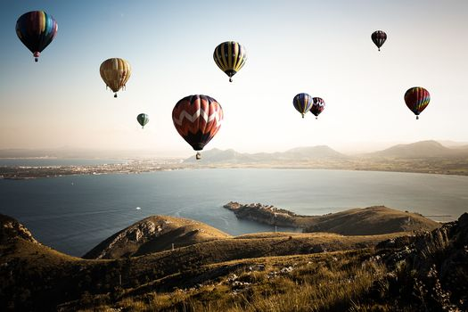 Air Balloon, landscape, sea