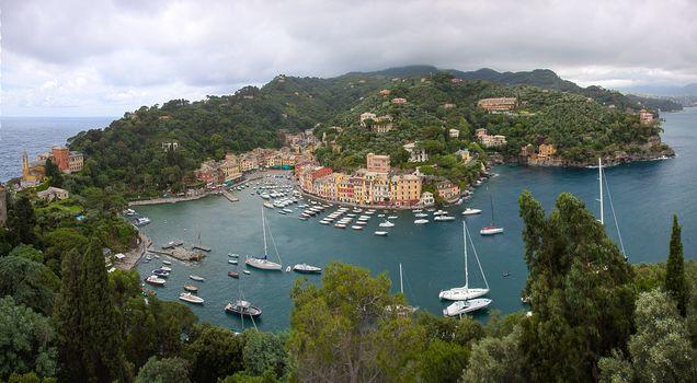 Portofino, harbour, yachts, Italy, HDR, panorama