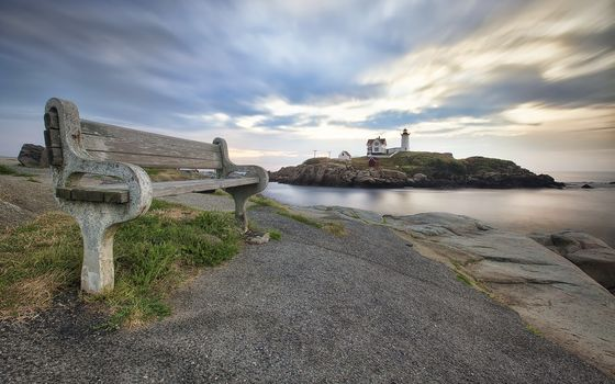 Nubble Bench, lighthouse, sohier park, landscape