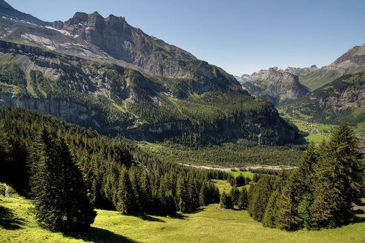 Grassy, hills, trees, valley, Switzerland