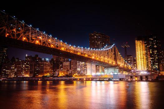 Queensboro Bridge, New York City, city, night