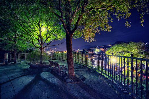 Nagasaki, Japan, city, trees, A bench, rest, lights