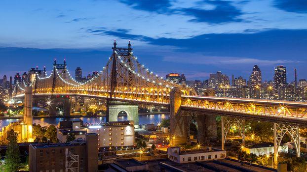 Queensboro Bridge, New York City, Manhattan, NYC, New York, Bridge 59th Street, Queensboro Bridge, city nightlife, bridge