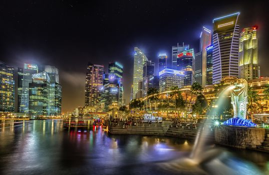Singapore, city, lights