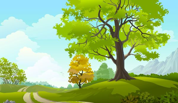 Clouds, trees, grass field, road, sky, nature, landscape, vector art