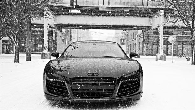 Audi R8, Ауди, снег, зима
