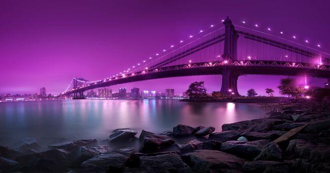 'Bridging Purple, 'United States, New York, New York City, Manhattan Bridge, Dumbo