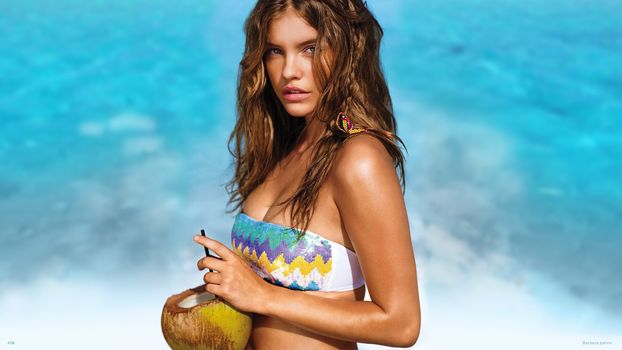 """Barbara Palvin"", beach, coconut, beauty"