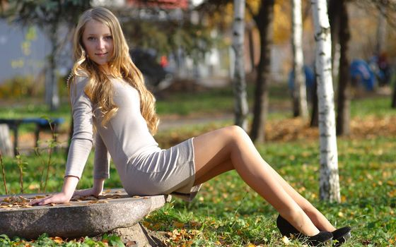 blonde, nature, dress, shoes, birch, stone, grass, view, park