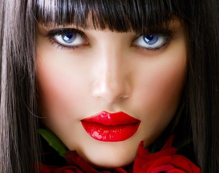 брюнетка, взгляд, челка, губы, помада, цветок