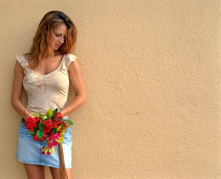 brown hair, background, Flowers