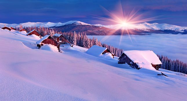 nature, home, winter, snow, sky, landscape, nature, winter, sky, white, beautiful, cool, nice, landscape, scenery, snow, house, sunset