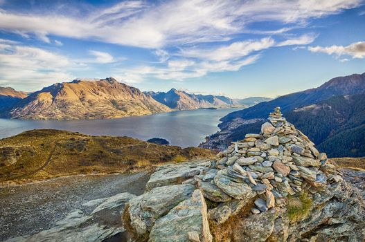 New Zealand, Queenstown, river, Mountains, stones, landscape