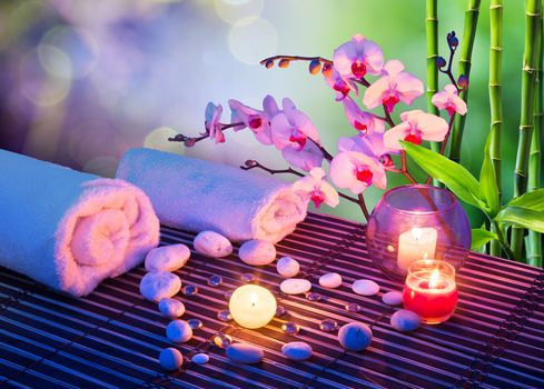 heart, stones, Candles, ORCHIDS, Towels, bamboo