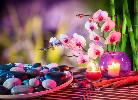 stones, Candles, ORCHIDS, bamboo