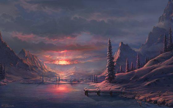 lake, winter, DAWN, Mountains, Art