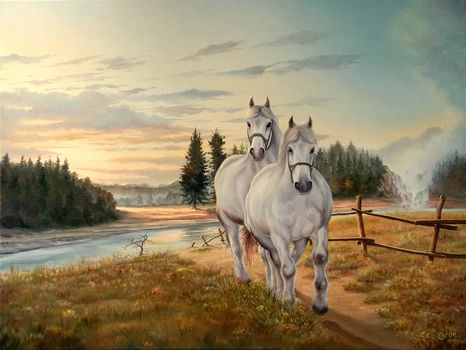 sky, clouds, painting, horse, nature, GRIVA, grass, White, river