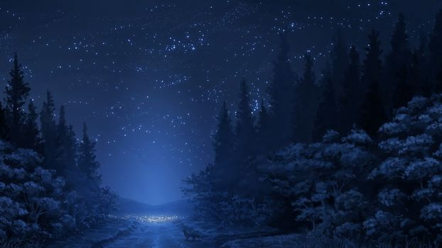 Mountains, trees, road, winter, forest, night, snow, Star, fox, sky