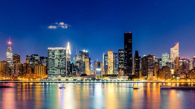 огни, ночь, США, Манхэттен, небоскребы, подсветка, небо, Нью-Йорк, город, здания, Мидтаун