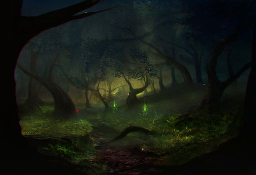 forest, trees, grass, Art, painted landscape, night