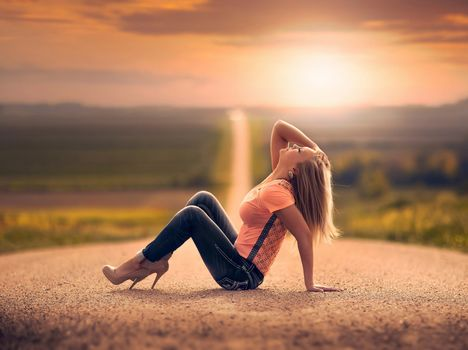 road, girl, jeans, SPACE, bokeh
