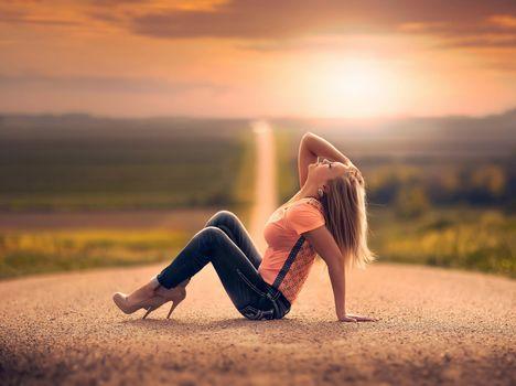 дорога, девушка, джинсы, простор, боке