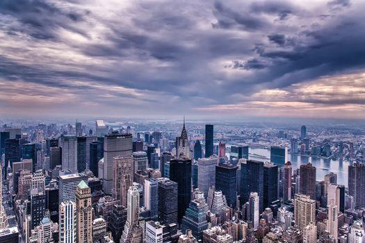 Нью-Йорк, город, Эмпайр-стейт-билдинг, высотки, высотные, панорама, дома, вечер, Манхэттен, здания, США, небо, небоскребы, тучи