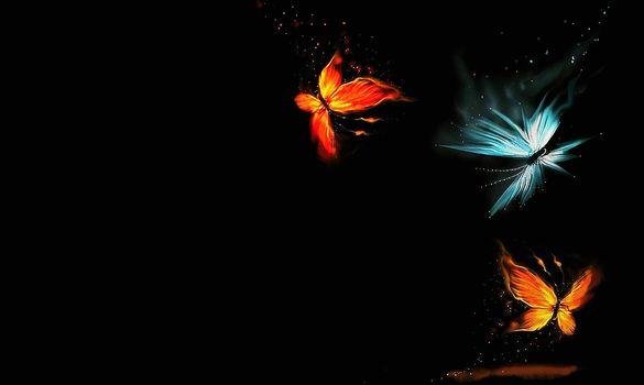 разное, 3D, рендеринг.бабочки