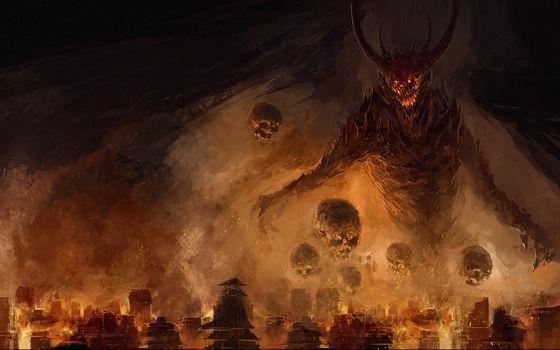city, Spikes, gloom, fire, demon, wings, skull, fear
