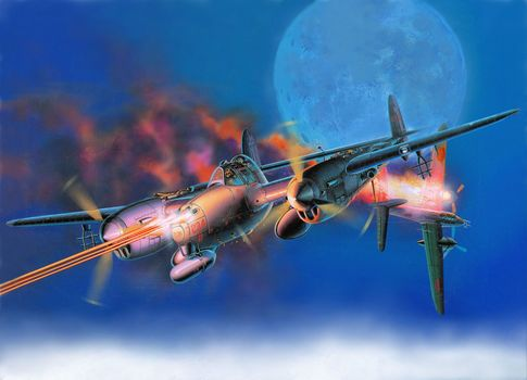 "heavy, moon, padded, flame, ""Lightning"", fire, Lockheed, fighter, sky, drawing, Japanese, aircraft, bomber, American, Art, ""Lightning"""